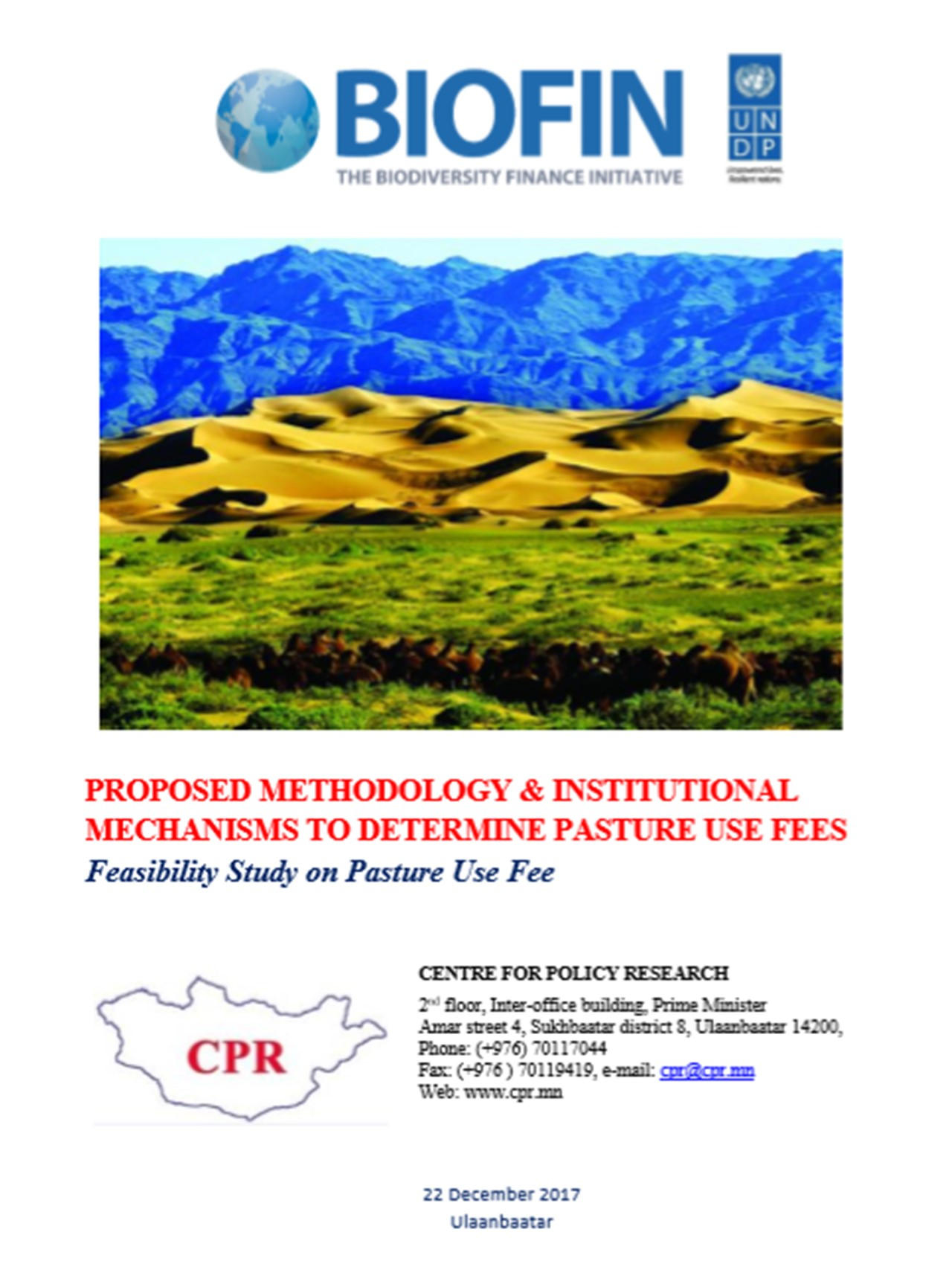 Feasibility Study on Pasture Use Fee - Mongolia